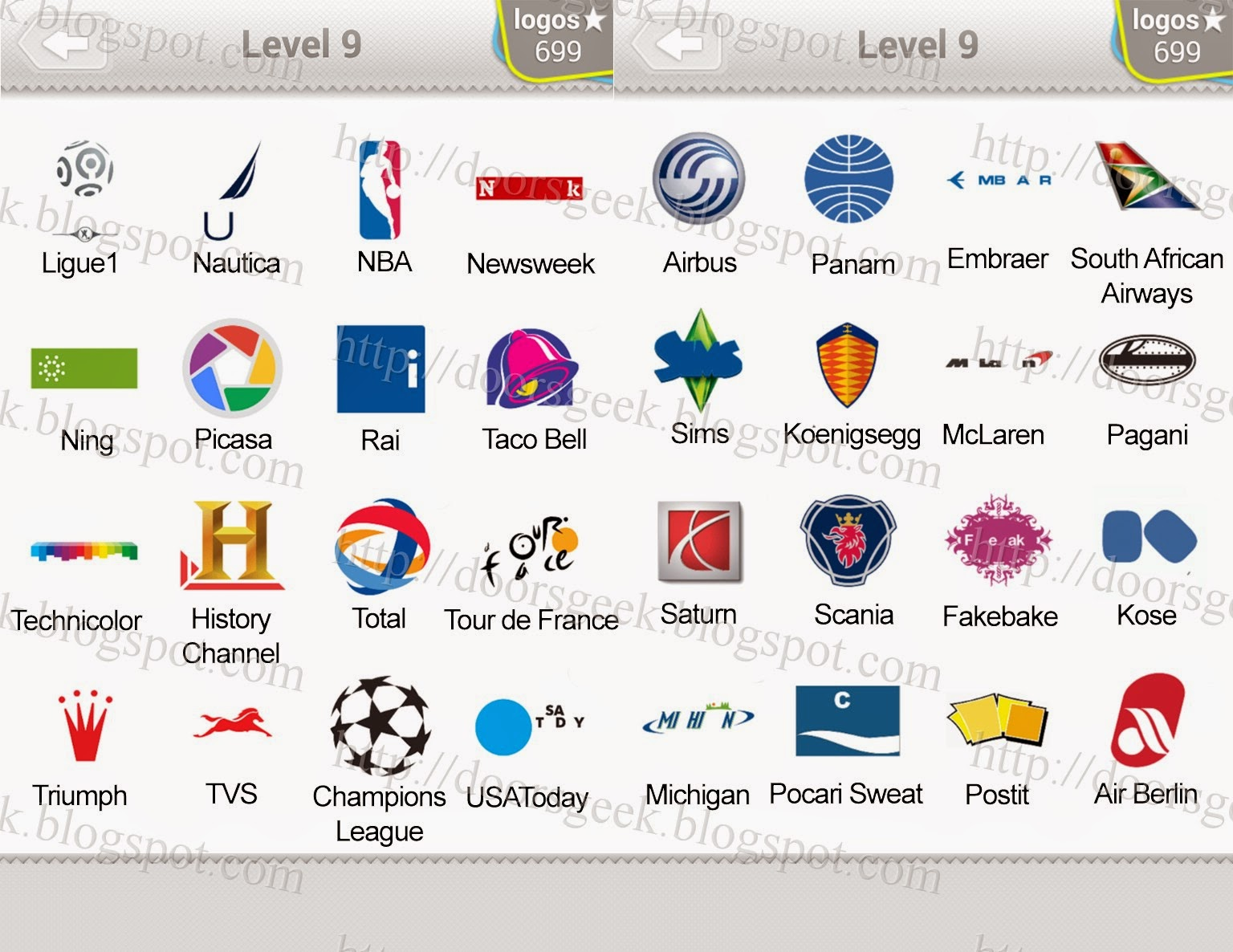 Logo Quiz Level 9 Answers By Bubble Quiz Games Answers