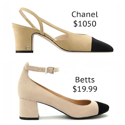 Chanel Two-Toned Slingback Black Toe Cap Betts Georgia 2 Pumps look for less budget fashion high end high street designer dupe