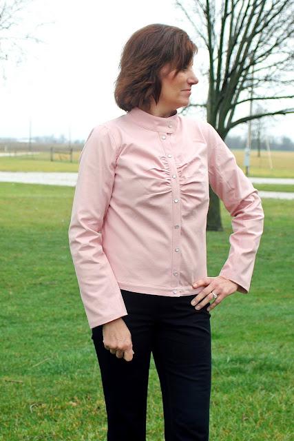 Mood Fabrics' twil fabric used to create Marmalade Jacket