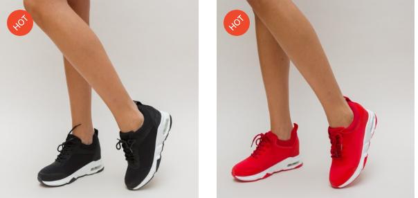 Adidasi femei negri, rosii din panza de calitate moderni simpli