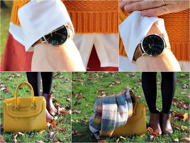 knitwear, josie´s little wonderland, outfit, fashion, blog, fashionpost, autumcolours, cluse watch, edmond louis bag, yellow bag