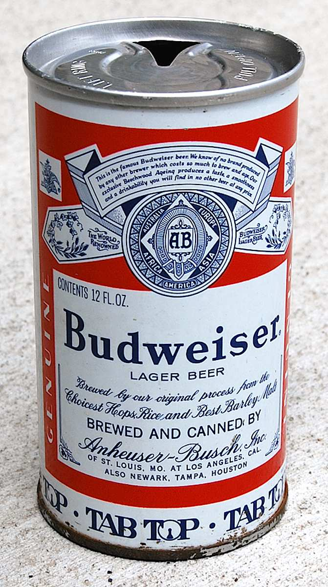 1960s Budweiser Beer can, a color photograph