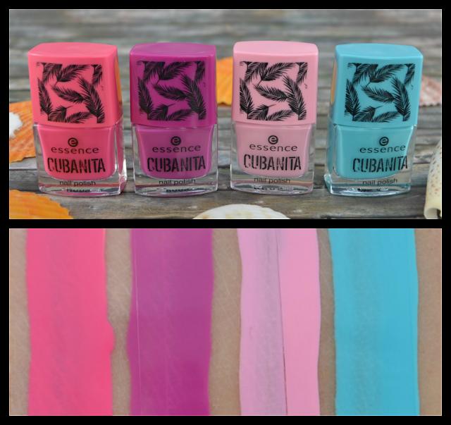 Essence cubanita TE nail polishes 01 kisses from havana & 02 hola guapa! & 03 do you hear la música? & 04 bienvenida a palm beach