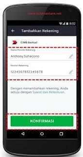 cara mendaftarkan nomor rekening grab via aplikasi