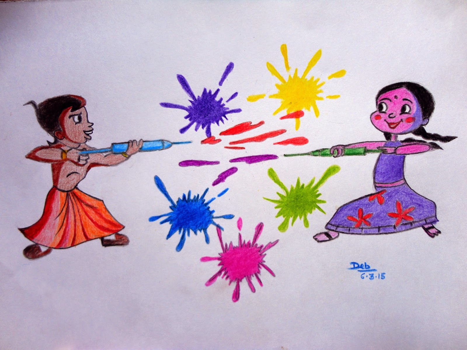 Happy holi sketches and paintings