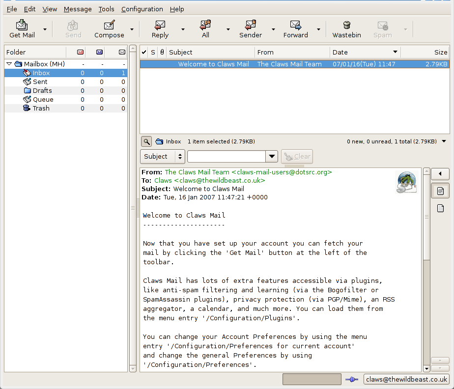 Claws Mail, A Full Featured E-mail and News Reader Client