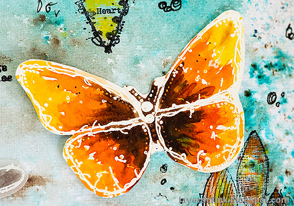 Layers of ink - Butterflies and Dragonflies Tutorial Art Journal Page by Anna-Karin Evaldsson. Watercolor butterfly.