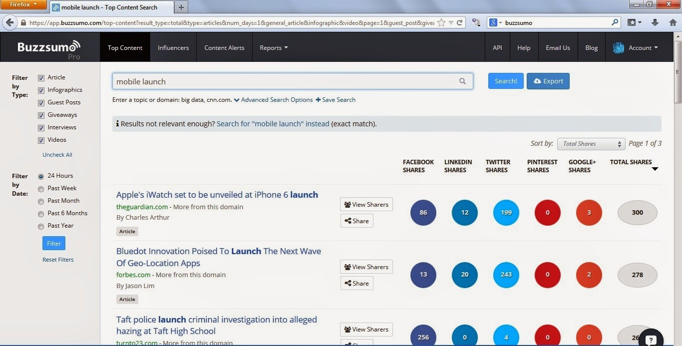 Search results Buzzsumo trending content