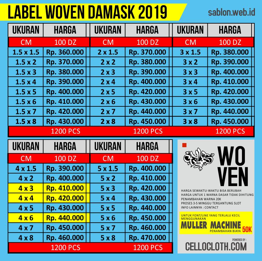 Harga Bikin Label Woven Damask untuk Clothing