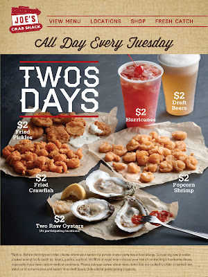 Joe S Crab Shack 2 Deals Every Tuesday Fried Pickles Crawfish