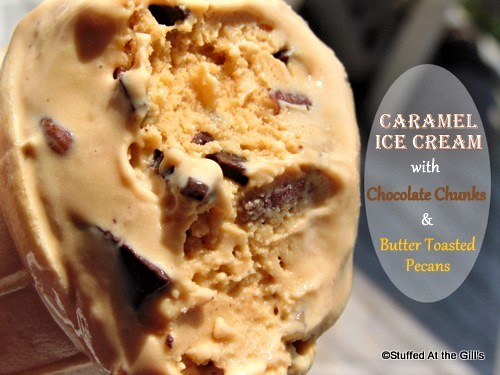 Ice cream cone with Caramel Ice Cream with Chocolate Chunks & Butter Toasted Pecans.