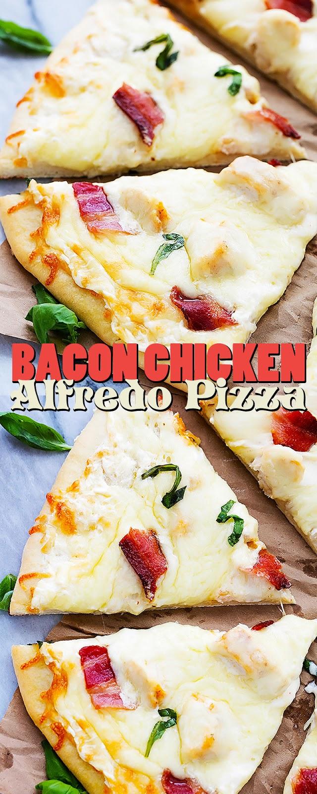 BACON CHICKEN ALFREDO PIZZA