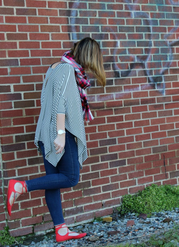 lace up flats, plaid scarf, how to pattern mix