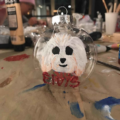 Lucy Hale's Christmas ornament bauble maltipoo dog Elvis