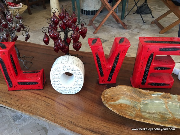 small LOVE sculpture at JMB Gallery shop in Bucerias, Mexico