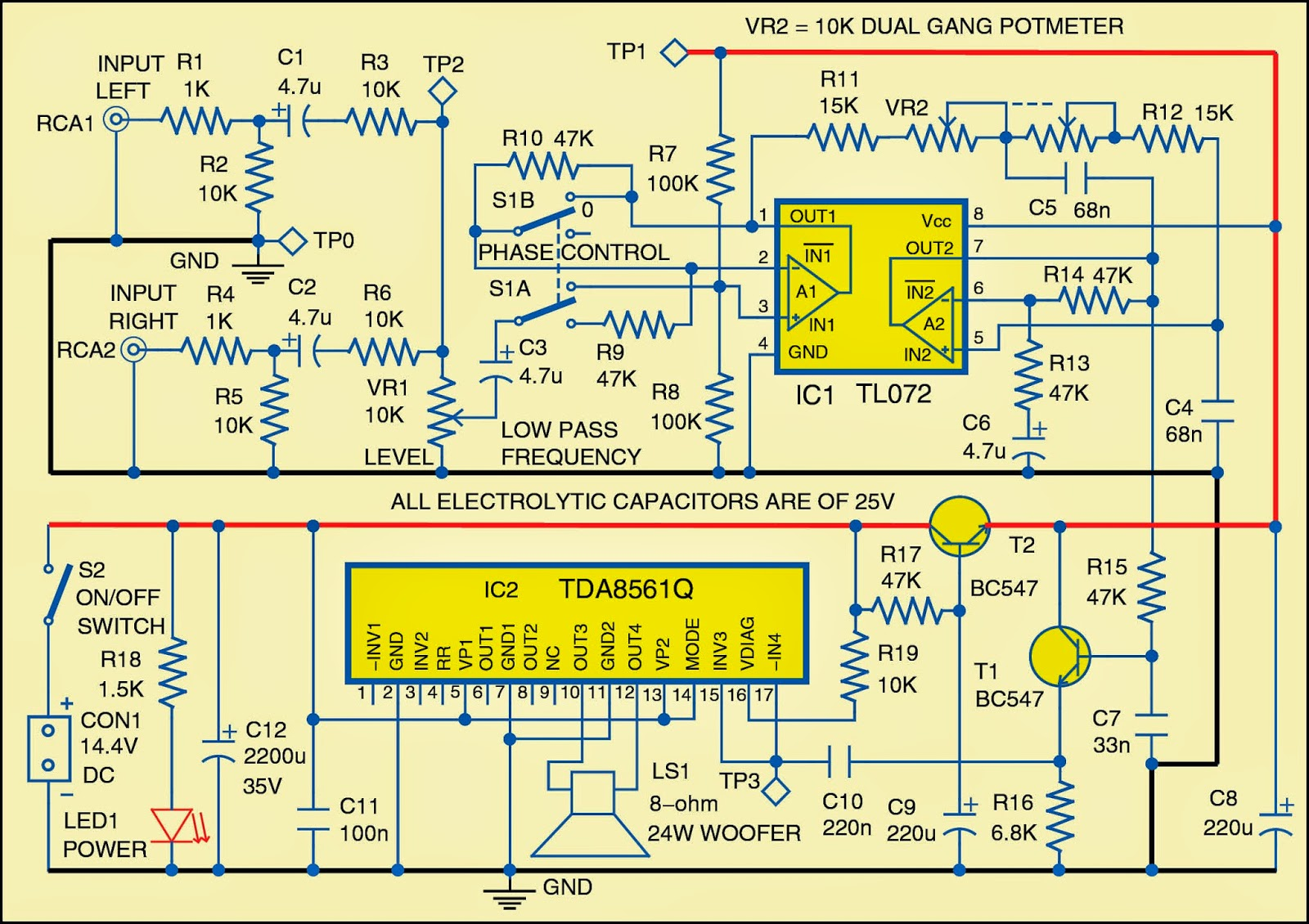 dld mini projects circuit diagram 2004 suzuki intruder 1500 wiring low noise power amplifier for subwoofer