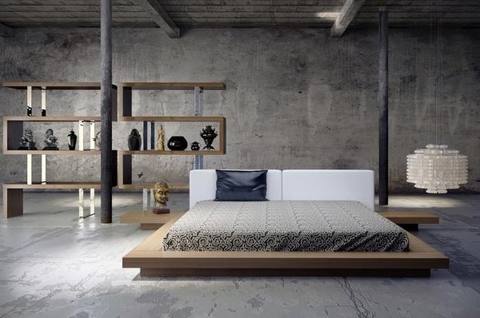 japon tarzı mdern yatak odası dekorasyonu