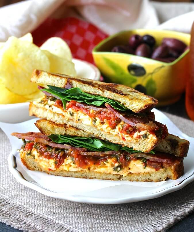 BLT Sandwich with roasted pimento cheese and tomato marmalade #BLT