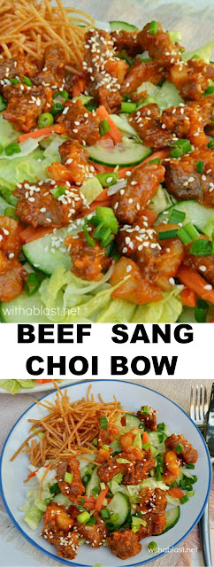 Sticky delicious Beef Sang Choi Bow - a bit different !