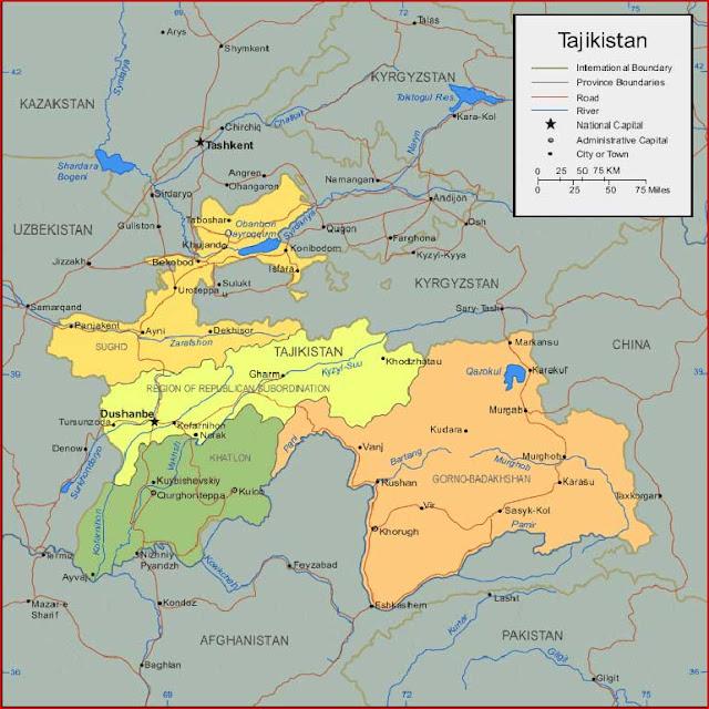 Gambar Peta Tajikistan