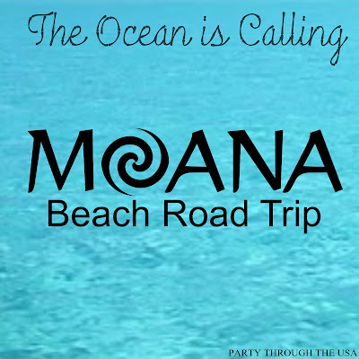 How to Plan a Moana Themed Road Trip // Party Through the USA // family road trips // party food // costumes // themed car activities // beach fun // beach party for kids