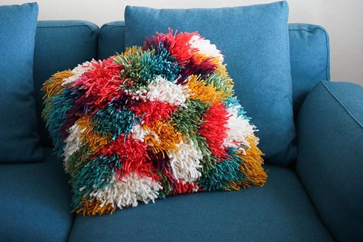 Shaggy Latch Hook Cushion Cover