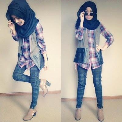 model style kemeja flanel wanita hijab