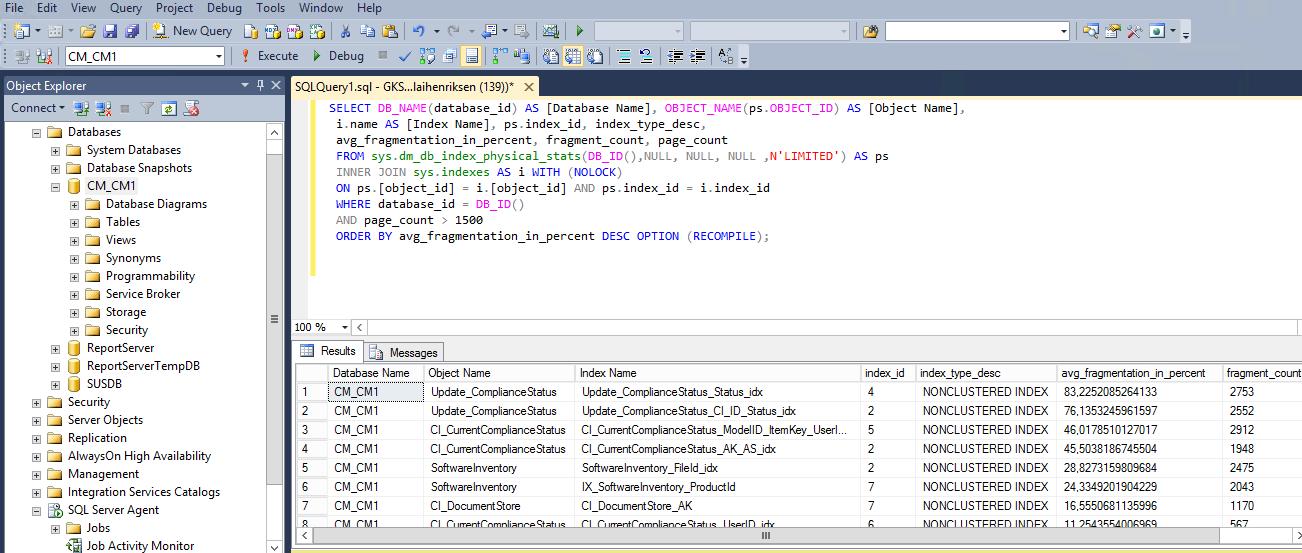 System Center Configuration Manager: Database optimization