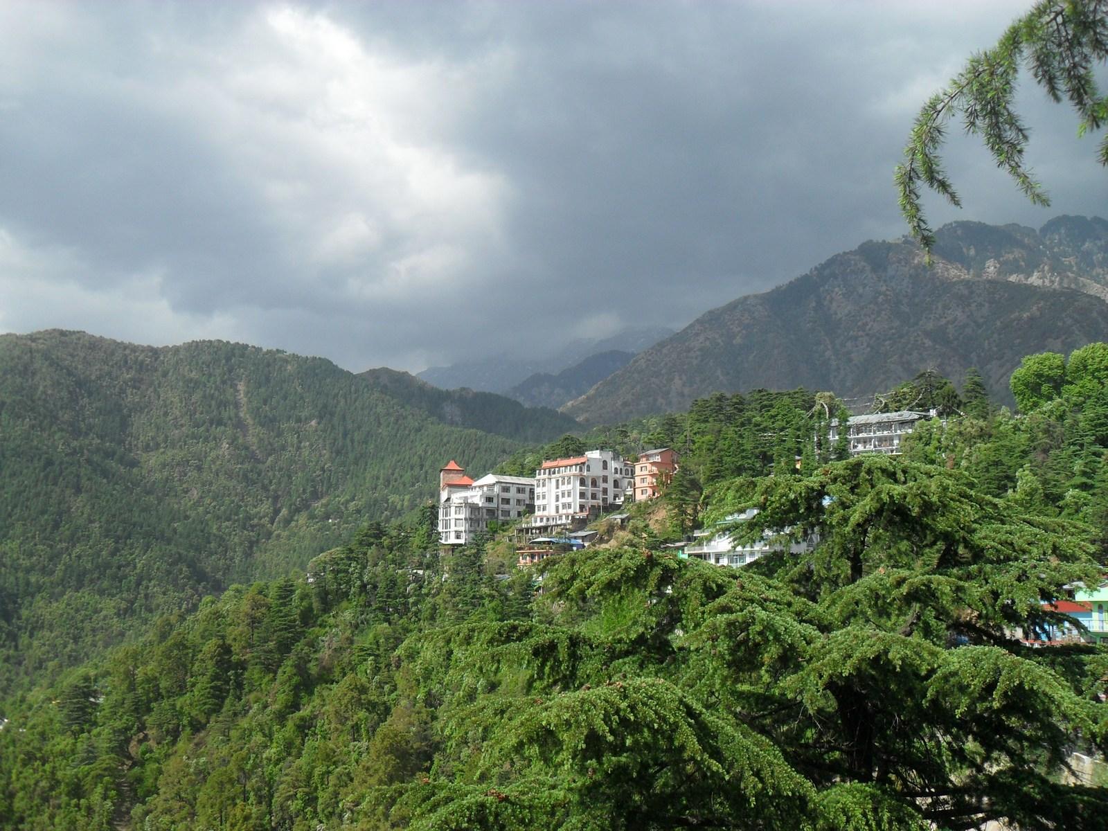 Вид на Дармсалу из дворца Далай-ламы