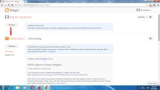 tampilan utama saat mendaftar blogger