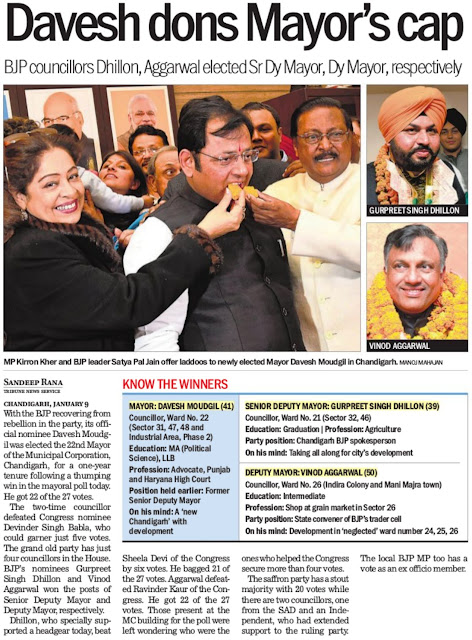 MP Kirron Kher and BJP leader Satya Pal Jain offer laddoos to newly elected Mayor Davesh Moudgil in Chandigarh