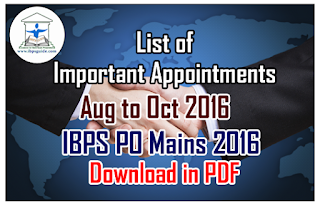 List of Important Appointments (Aug to Oct 2016) for IBPS PO Mains 2016 – Download in PDF
