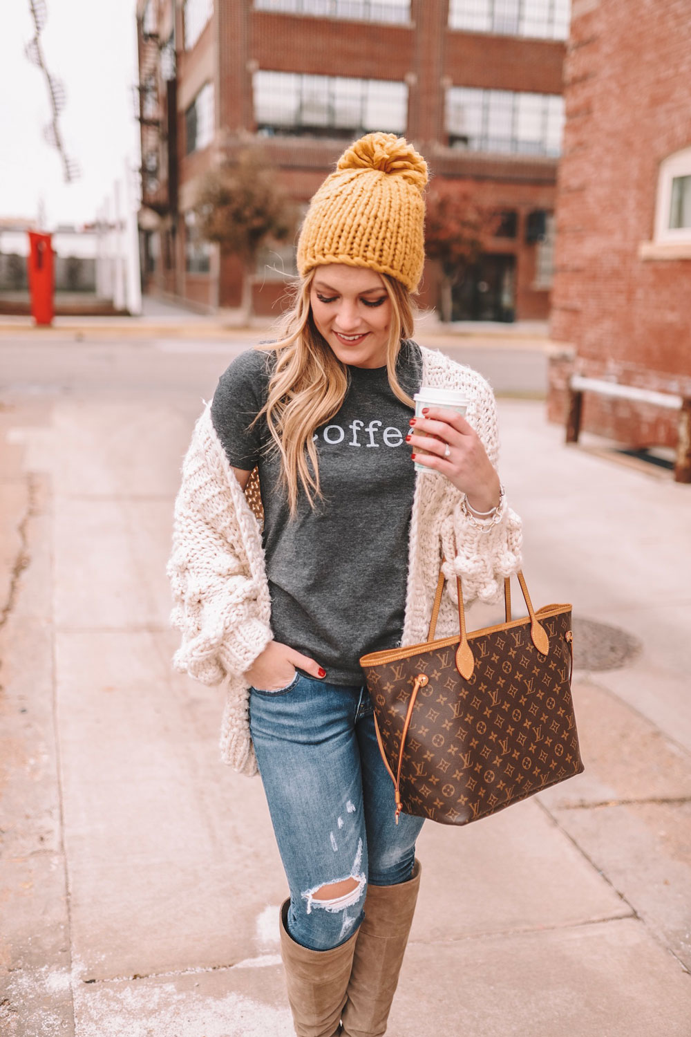 Amanda's OK wearing cozy knits and a coffee graphic tee in Midtown Oklahoma City