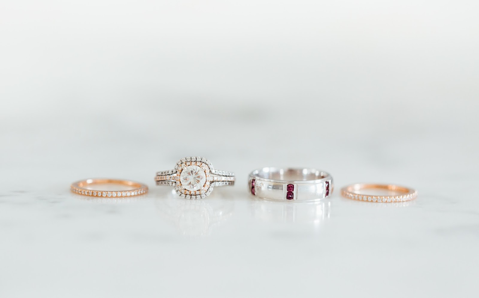 Rose Gold and Diamond Wedding Rings by Something Minted Photography