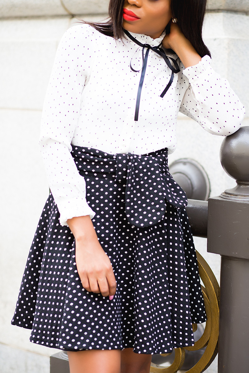 chicwish polka dot blouse, mixing polka dot, trench coat, www.jadore-fashion.com