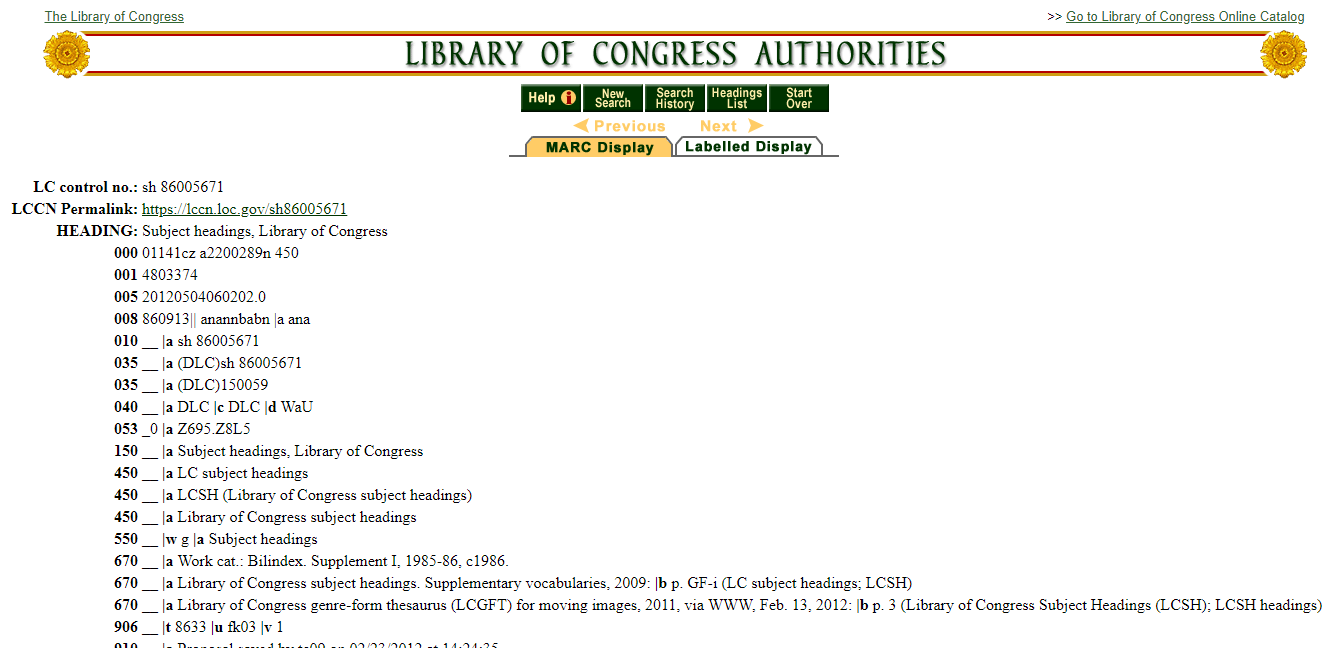 Library of Congress Subject Headings (LCSH) Authority Record