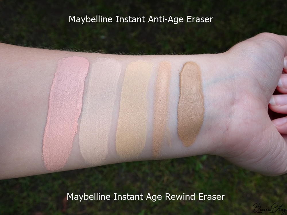 Korektor Maybelline Instant Anti-Age Eraser Concealer, Maybelline Instant Age Rewind 00 Ivory, 01 Light, 02 Nude, 05 Brightener, 06 Neutralizer swatch blog