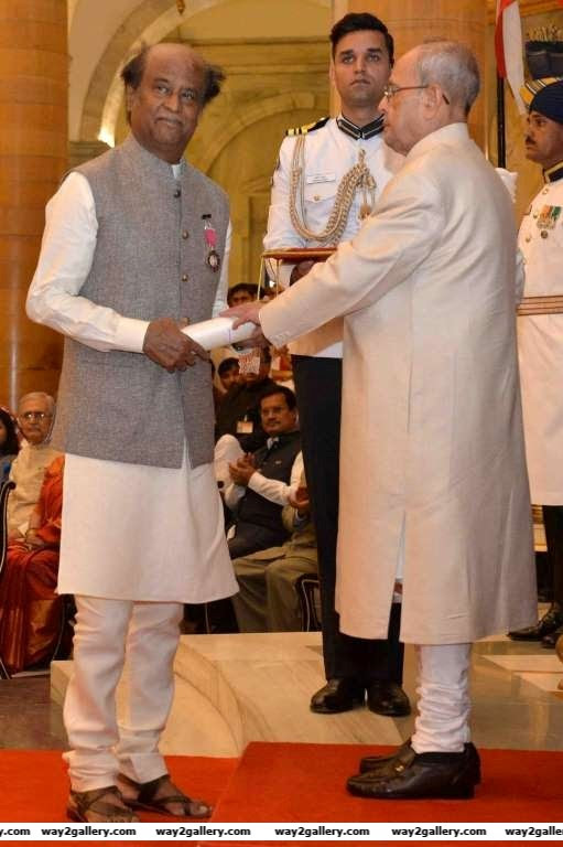 Superstar Rajinikanth was honoured with the Padma Vibhushan by President Pranab Mukherjee on April