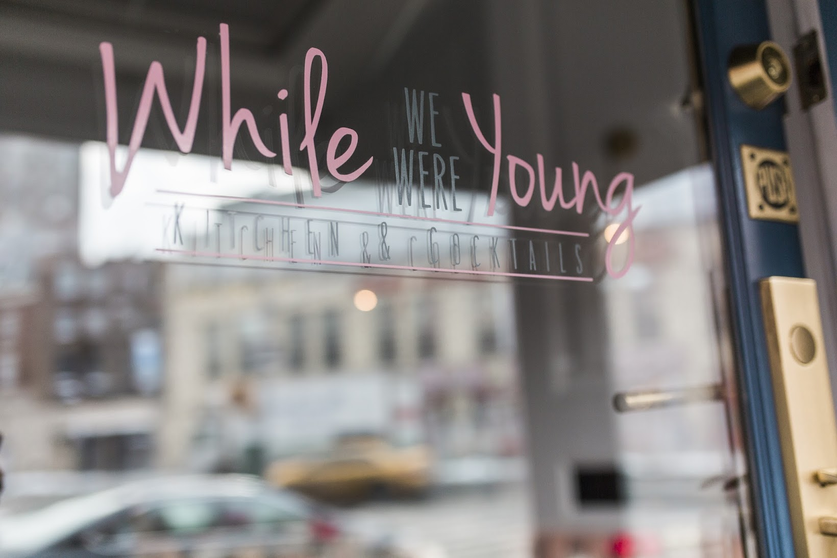 While we were young NYC restaurant and bar, pink couches, best cocktails in NYC west village, Cynthia Rowley Floral Lace Ruffle Sleeve dress, NYFW