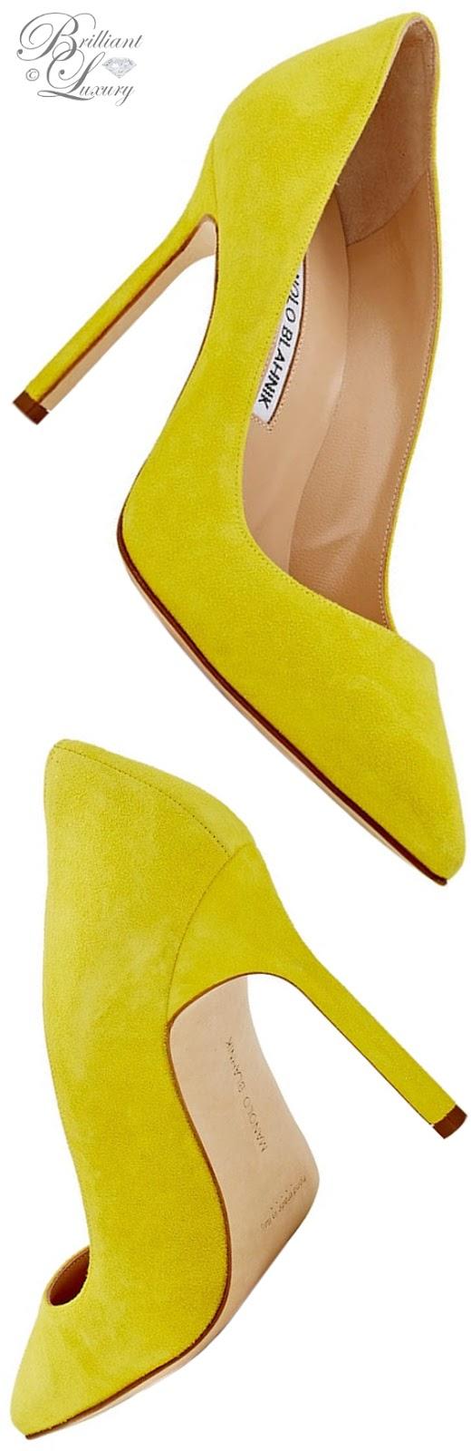 Brilliant Luxury ♦ Manolo Blahnik BB yellow suede pump