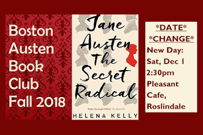 Boston Austen Book Club Fall 2018 Meeting Discussing Dr Helena Kelly's Jane Austen the Secret Radical