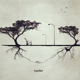 A imagem em preto e branco com recurso artístico remete a foto envelhecida. Ela é dividida horizontalmente ao meio por um gramado. Nas laterais, duas árvores, uma de cada lado: a da esquerda é maior com tronco bifurcado levemente inclinado à esquerda e ramos que desabrocham em duas copas compostas por folhas pequenas. À direita, a árvore é da mesma espécie, porém mais baixa e curvada à esquerda, como se reverenciasse a outra. Entre elas, há um banco de praça e em frente, dois postes de luz. No alto à direita, cinco pássaros no céu. Abaixo da superfície do gramado, as raízes das árvores revelam-se, ramificadas; uma extensão de cada uma delas está entrelaçada à outra. Abaixo, lê-se: together.