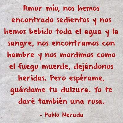 Mensaje y verso de amor de Neruda