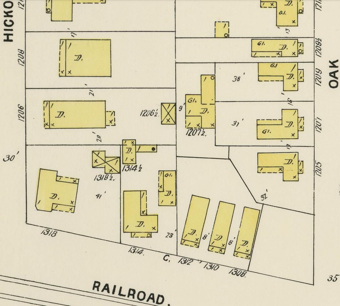 also this section of the map looks about the same on the 1924 sanborn map at least as far as 1314 railroad is concerned