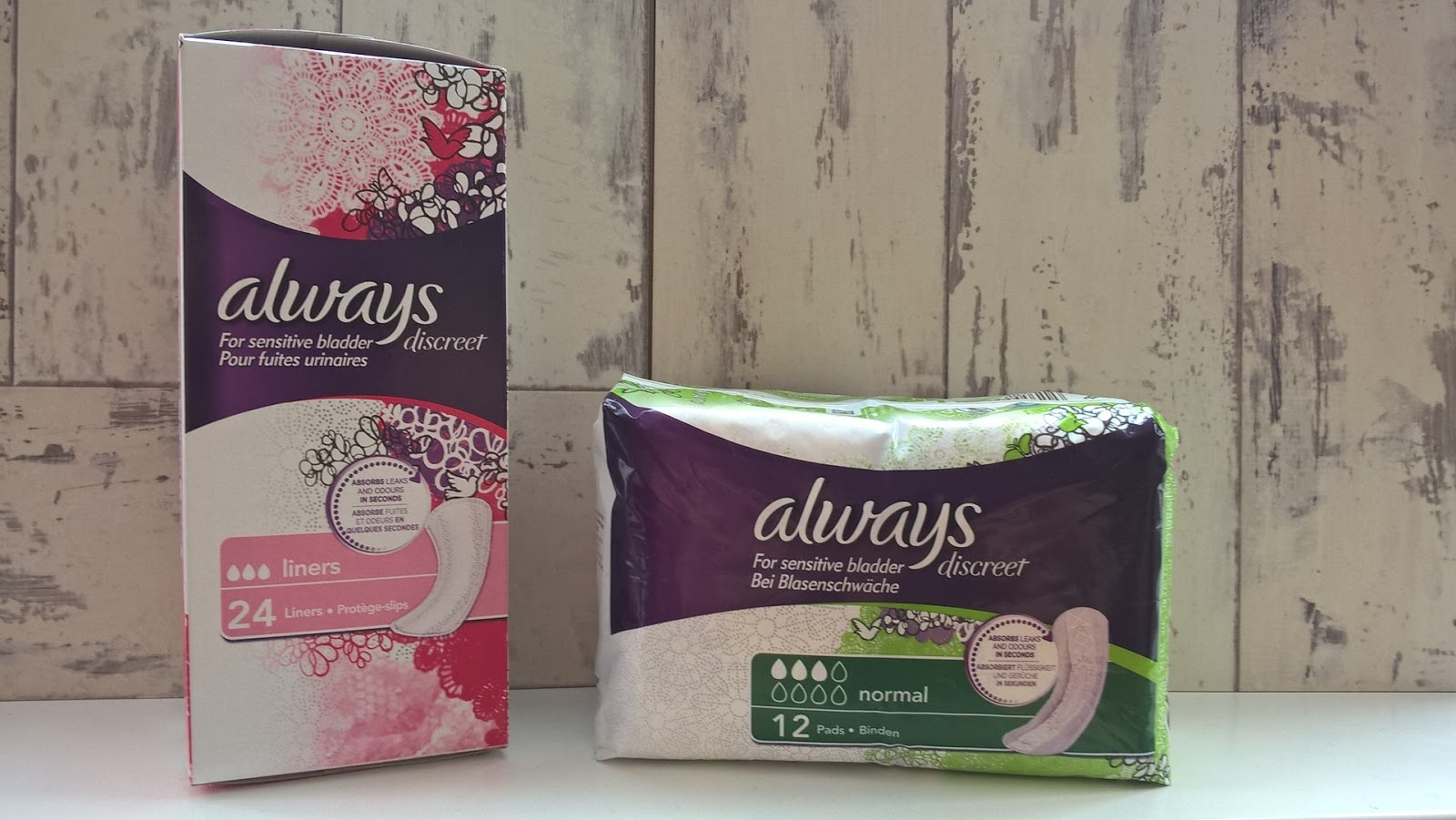 Products from the Always Sensitive Bladder range