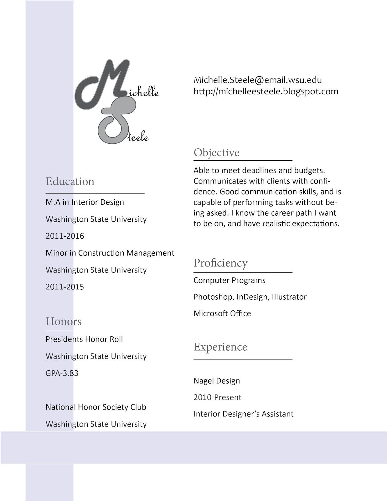 resume michelle s design blog