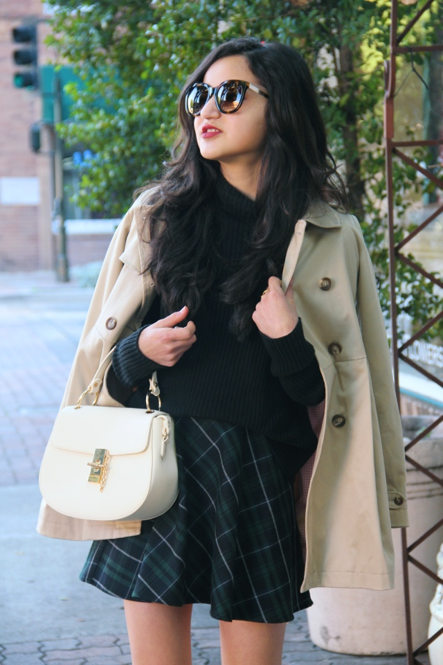 BP mock neck black sweater plaid skirt trench peacoat coat outfit
