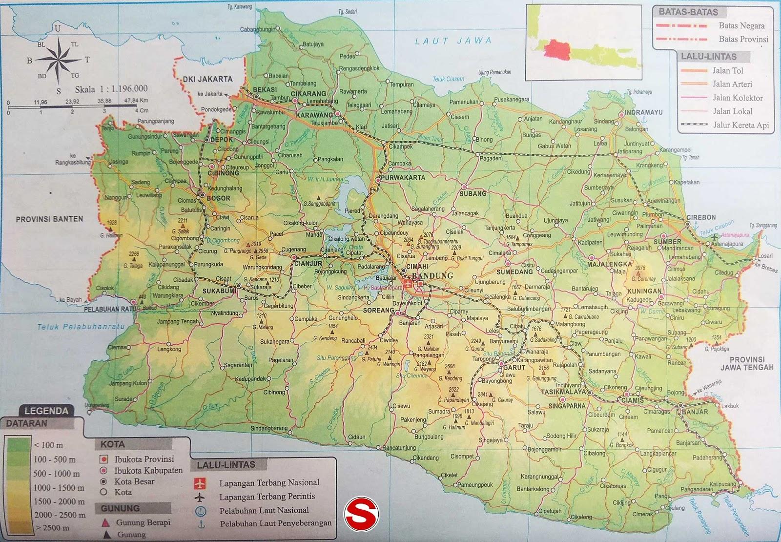 Peta Atlas Provinsi Jawa Barat di bawah ini mencakup peta dataran Peta Atlas Provinsi Jawa Barat