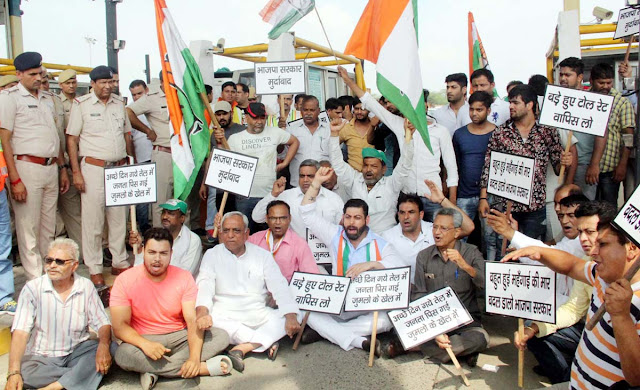 Faridabad Congress workers protest against increase in toll rates