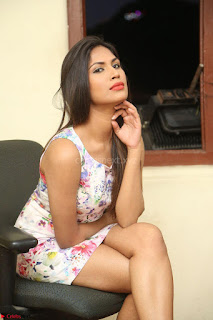 Nishi Ganda stunning cute in Flower Print short dress at Tick Tack Movie Press Meet March 2017 271.JPG